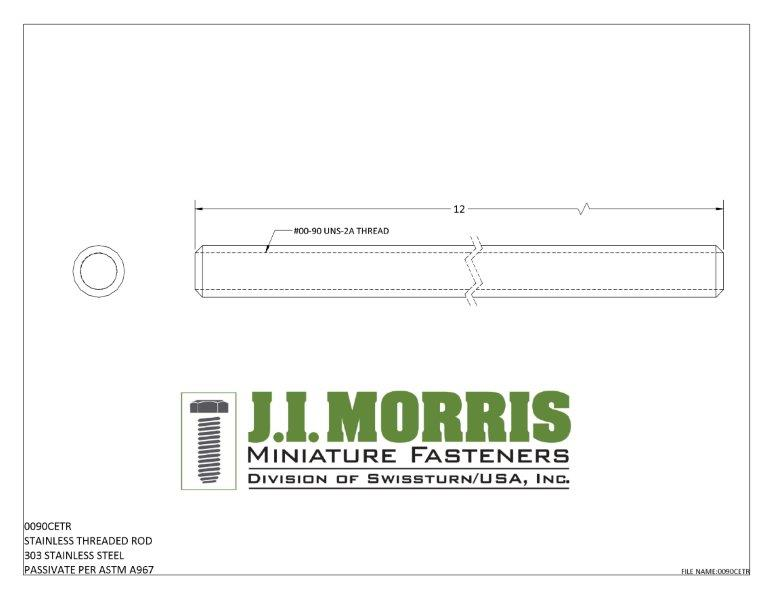 J I Morris miniature 00-90 threaded rod, 303 stainless steel material