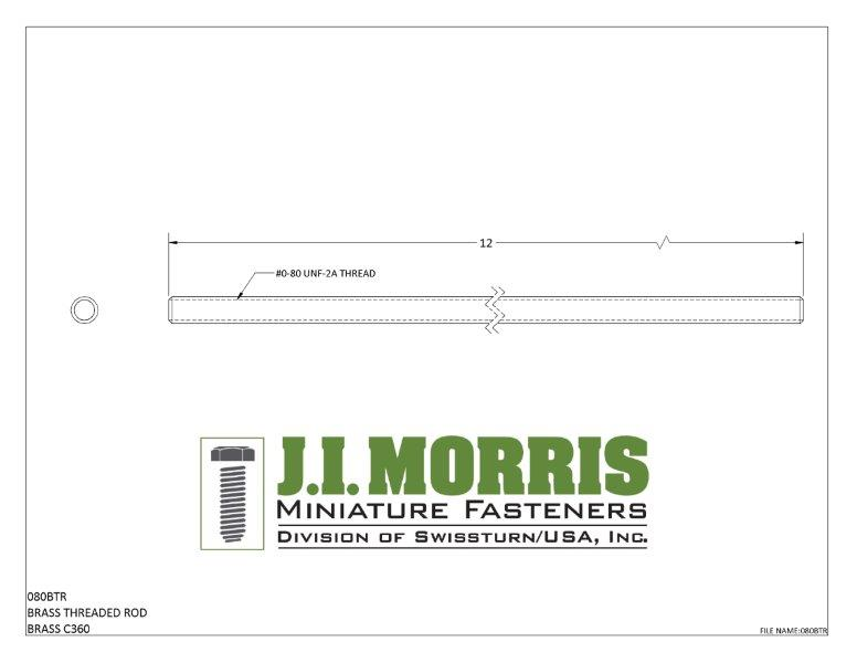 J I Morris miniature 0-80 threaded rod, C360 brass material