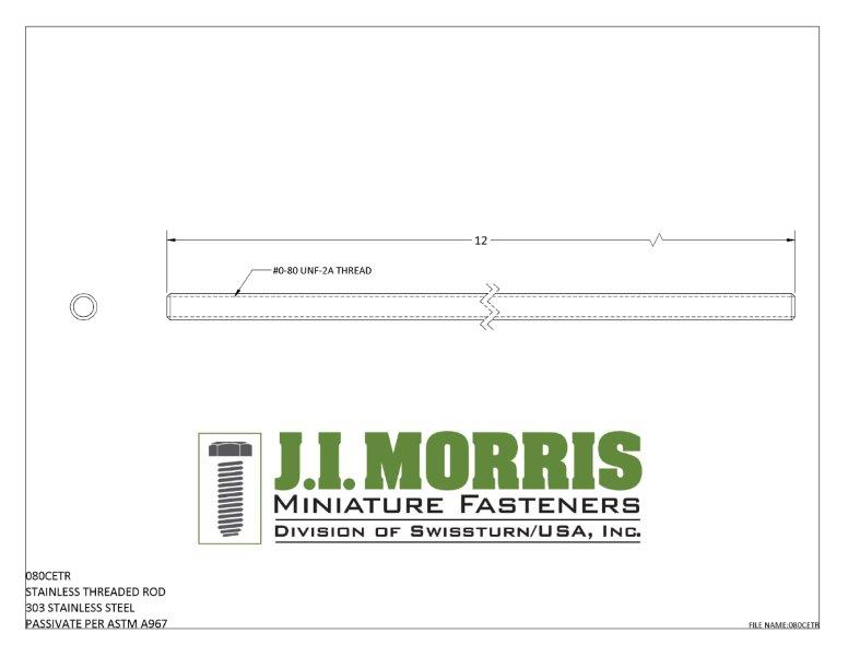 J I Morris miniature 0-80 threaded rod, 303 stainless steel material